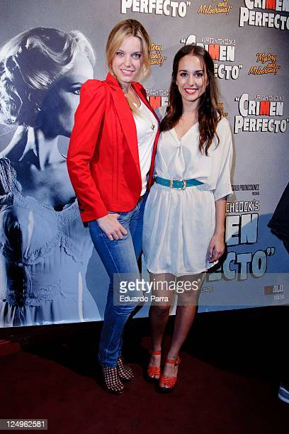 Carolina Bang and friend attend the Crimen Perfecto premiere photocall at Reina Victoria theatre on September 14 2011 in Madrid Spain