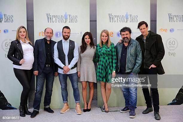 Carolina Bang Tomas del Estal Carles Francino Paula Prendes Esmeralda Moya Paco Tous and Edu Soto attend 'Victor Ros' photocall at Academia de Cine...