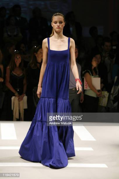 Carolina Bergstein wearing DKNY Spring 2007 during Olympus Fashion Week Spring 2007 DKNY Runway at 711 Greenwich Street in New York City New York...