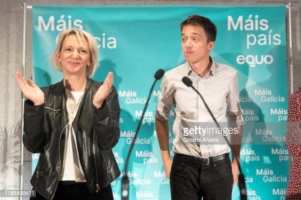 Carolina Bescansa and Íñigo Errejónleader of the new Spanish political party 'Mas Pais' attend a meeting in Fundación Once A Coruña on October 25...