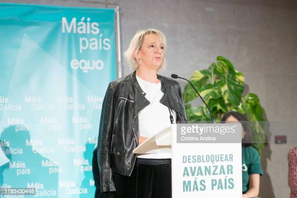 Carolina Bescansa Más País candidate for A Coruña to the Congress of Deputies' attends a meeting in Fundación Once A Coruña on October 25 2019 in A...