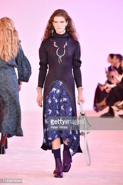 Carolina Burgin walks the runway during the Chloe show as part of the Paris Fashion Week Womenswear Fall/Winter 2019/2020 on February 28, 2019 in...