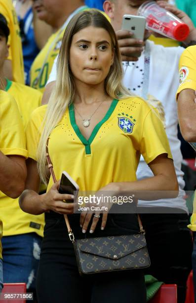 Carolina Cabrino wife of Marquinhos of Brazil during the 2018 FIFA World Cup Russia group E match between Serbia and Brazil at Spartak Stadium on...