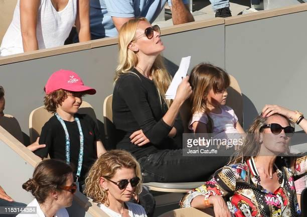 Carolina Cerezuela wife of Carlos Moya and their 3 children Carla Moya Carlos Moya Jr Daniela Moya attend Nadal's match during day 6 of the 2019...