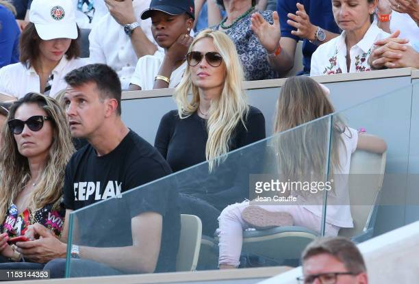 Carolina Cerezuela wife of Carlos Moya attends Nadal's match during day 6 of the 2019 French Open at Roland Garros stadium on May 31 2019 in Paris...