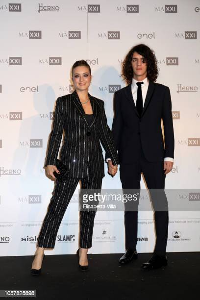 Carolina Crescentini and Francesco Motta attend MAXXI Acquisition Gala Dinner at Maxxi Museum on November 5 2018 in Rome Italy