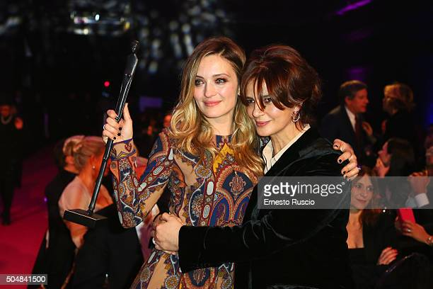 Carolina Crescentini and Laura Morante recive the Afrodite Award during the 14th Afrodite Award dinner gala at Studios on January 13 2016 in Rome...