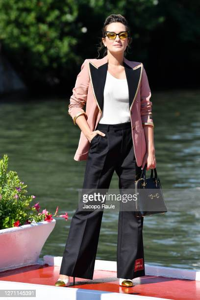 Carolina Crescentini is seen arriving at the Excelsior during the 77th Venice Film Festival on September 07 2020 in Venice Italy