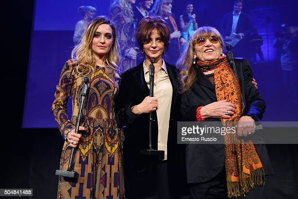 Carolina Crescentini Laura Morante and Piera Degli Esposti recive the Afrodite Award during the 14th Afrodite Award dinner gala at Studios on January...