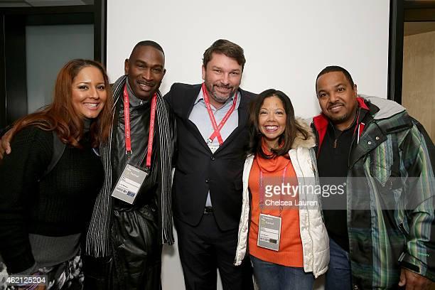 Carolina Davis Ron Davis John M Phillips Lucia McBath and Curtis McBath attend the 3 1/2 Minutes premiere during the 2015 Sundance Film Festival on...