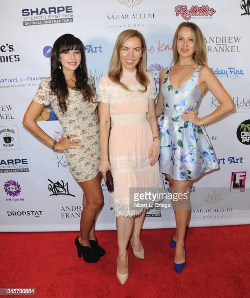 "Carolina De Athey, Galina Antonova and Dessy Slava attend the Karen Michelle's ""Love Your Body"": Artist For Trauma Fashion Even held at Luxe Sunset..."