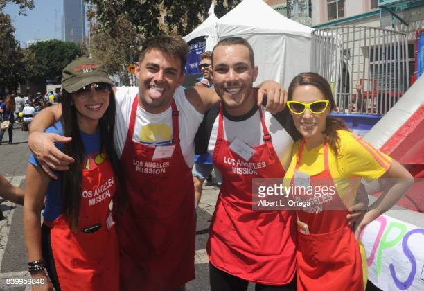 Carolina De Athey, Jonathan Bennett, Lucas Lockwood and Christina DeRosa participate in the Los Angeles Mission's End Of Summer Arts And Education...