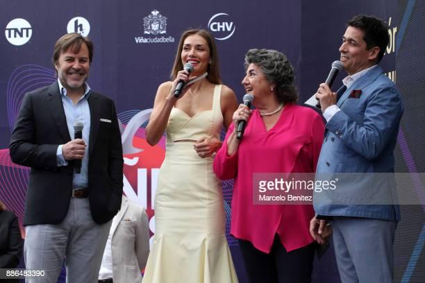Carolina de Moras and Rafael Araneda hosts of the Viña delMar Music Festival 2018 speak during the official launch at Hotel Ohigins on Decemeber 05...