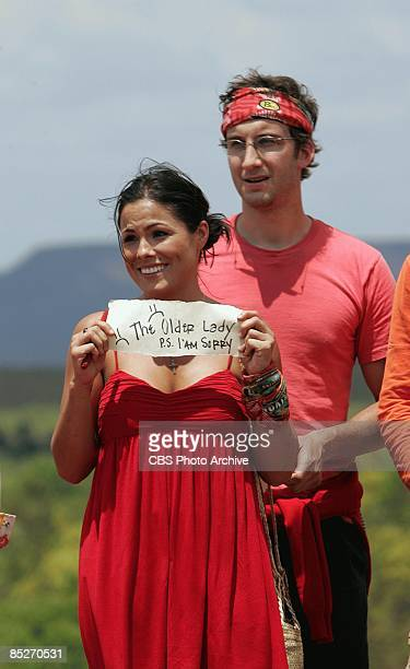 Carolina Eastwood and Stephen Fishbach during the first episode of SURVIVOR TOCANTINS THE BRAZILIAN HIGHLANDS Thursday Feb 12 on the CBS Television...