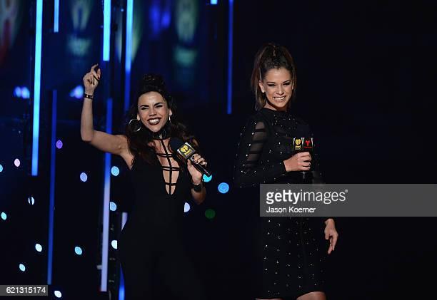 Carolina Gaitan and Carolina Miranda present on stage at iHeartRadio Fiesta Latina at American Airlines Arena on November 5, 2016 in Miami, Florida.