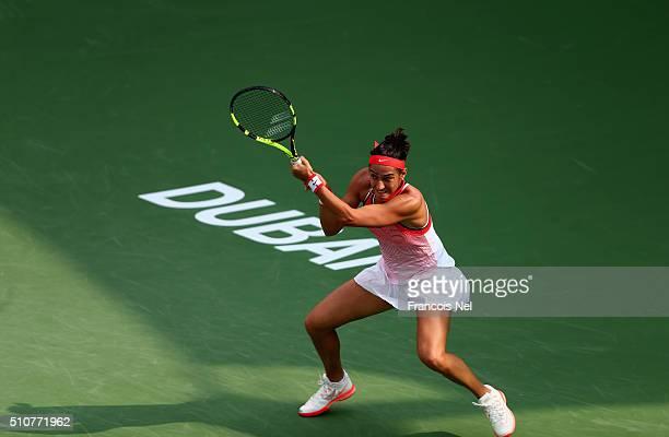 Carolina Garcia of France in action against Carla Navarro of Spain during day three of the WTA Dubai Duty Free Tennis Championship at the Dubai Duty...