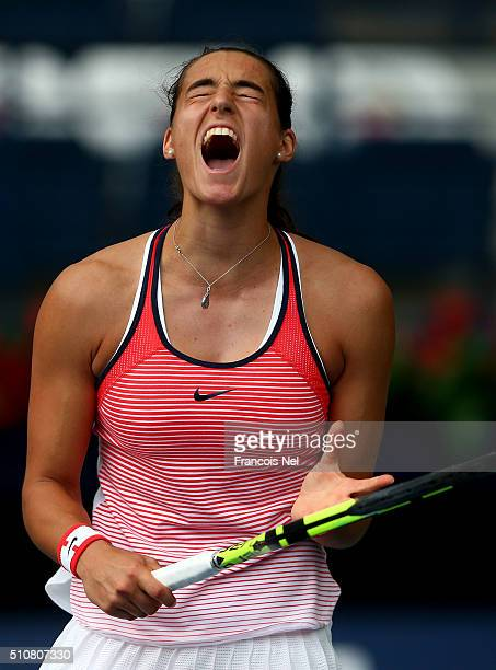 Carolina Garcia of France reacts against Carla Navarro of Spain during day three of the WTA Dubai Duty Free Tennis Championship at the Dubai Duty...
