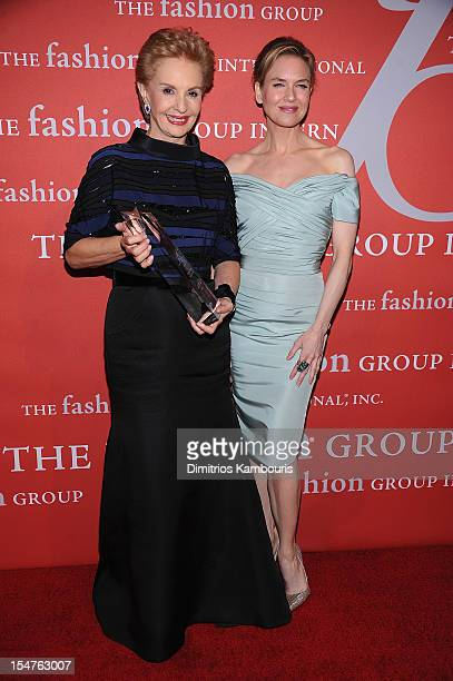 Carolina Herrera and Renee Zellweger attend the 29th Annual Fashion Group International Night Of Stars at Cipriani Wall Street on October 25 2012 in...