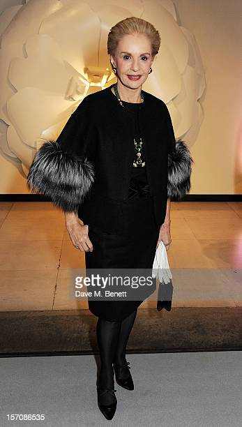 Carolina Herrera attends a private view of 'Valentino: Master Of Couture', exhibiting from November 29th, 2012 - March 3 at Somerset House on...