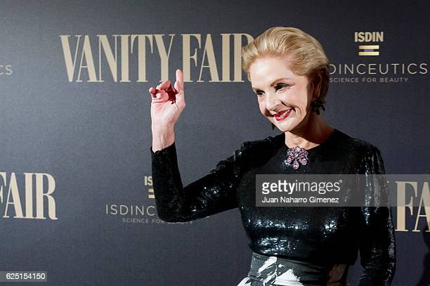 Carolina Herrera attends the gala dinner of Vanity Fair to commemorate its 100 number at Real Academia de Bellas Artes de San Fernando on November 22...