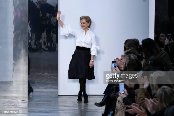 Carolina Herrera walks the runway after Carolina Herrera show during New York Fashion Week on February 13, 2017 in New York City.