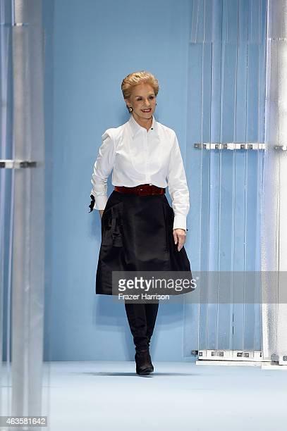 Carolina Herrera walks the runway at the Carolina Herrera fashion show during Mercedes-Benz Fashion Week Fall 2015 at The Theatre at Lincoln Center...