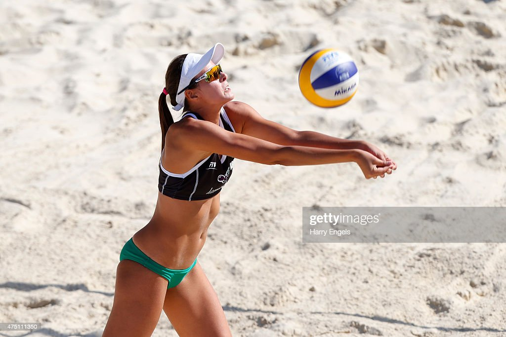 Carolina Horta Maximo of Brazil returns a serve during Day 2 of the FIVB Moscow Grand Slam on May 27, 2015 in Moscow, Russia.