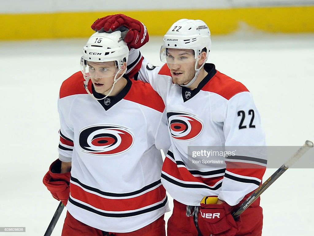 Carolina Hurricanes center Andrej Nestrasil (15) and defenseman Brett Pesce (22) react after Pesce scored a goal in the third period of a game against the Anaheim Ducks, on December 7, 2016, played at the Honda Center in Anaheim, CA.