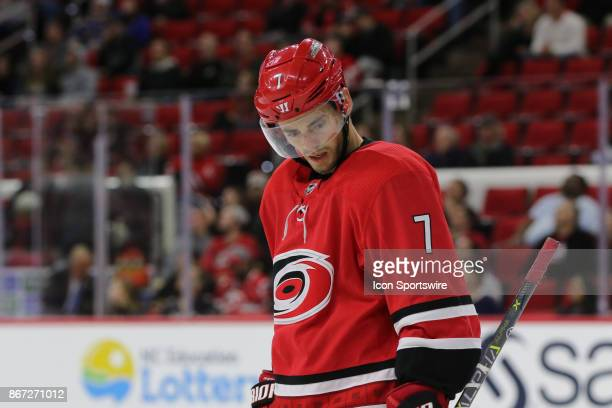 Carolina Hurricanes Center Derek Ryan during the Carolina Hurricanes game versus the St Louis Blues on October 27 at PNC Arena in Raleigh NC