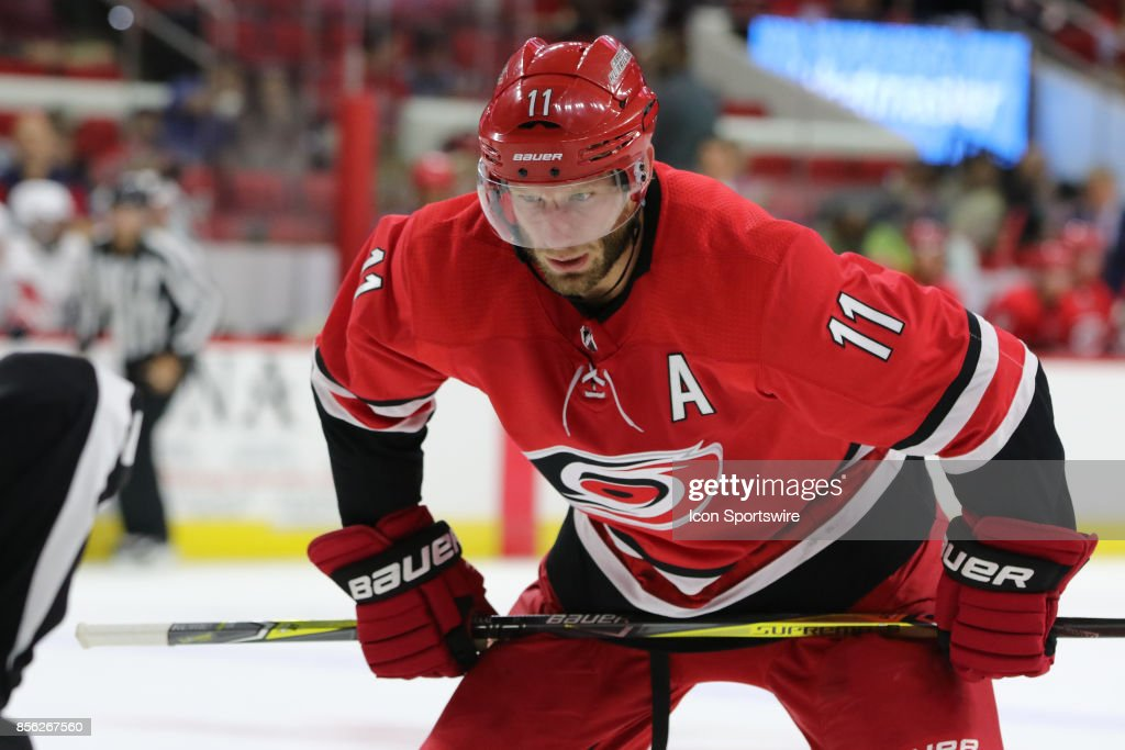 Carolina Hurricanes center Jordan Staal (11) during the 1st period of the Carolina Hurricanes game versus the Washington Capitals on September 29, 2017, at PNC Arena in Raleigh, NC.