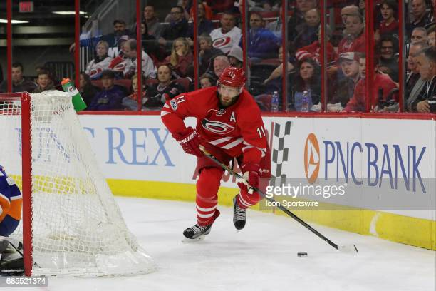 Carolina Hurricanes Center Jordan Staal during the 2nd period of the Carolina Hurricanes game versus the New York Islanders on April 06 2017 at PNC...
