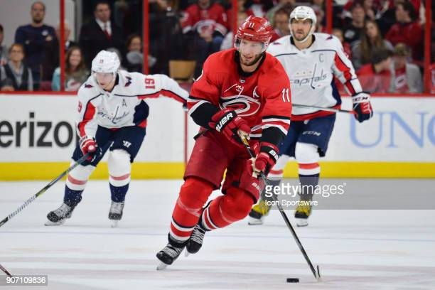 Carolina Hurricanes Center Jordan Staal skates with the puck during a game between the Washington Capitals and the Carolina Hurricanes at the PNC...