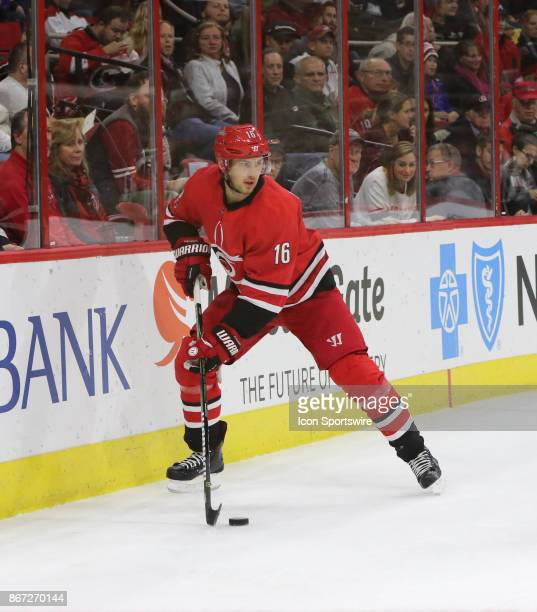 Carolina Hurricanes Center Marcus Kruger during the 1st period of the Carolina Hurricanes game versus the St Louis Blues on October 27 at PNC Arena...