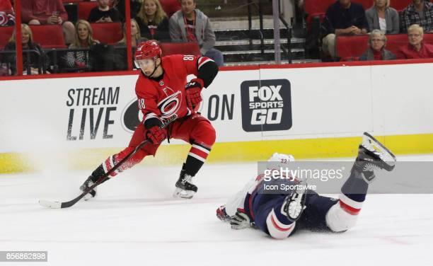 Carolina Hurricanes center Martin Necas and Washington Capitals defenseman Madison Bowey during the 1st period of the Carolina Hurricanes game versus...