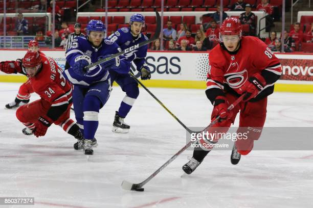 Carolina Hurricanes center Martin Necas during the 3rd period of the Carolina Hurricanes game versus the Tampa Bay Lighting on September 20 at PNC...