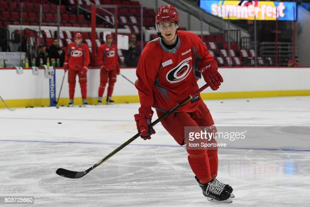 Carolina Hurricanes Center Martin Necas skates during the Carolina Hurricanes Development Camp on June 28 2017 at the PNC Arena in Raleigh NC
