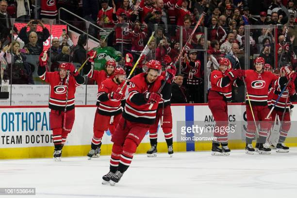 Carolina Hurricanes Center Sebastian Aho leads the Carolina Hurricane players and crowd in the Storm Surge after defeating the visiting Blackhawks...