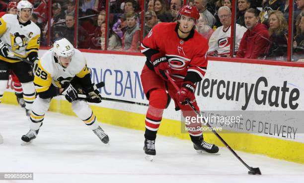Carolina Hurricanes Center Victor Rask and Pittsburgh Penguins Left Wing Jake Guentzel during the 2nd period of the Carolina Hurricanes game versus...