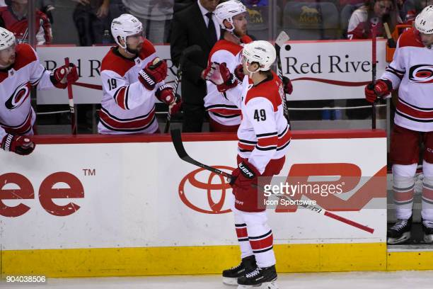 Carolina Hurricanes center Victor Rask is congratulated by right wing Josh Jooris after his third period goal against the Washington Capitals on...