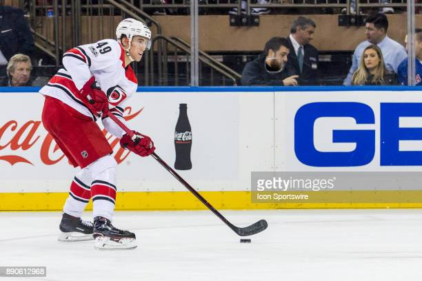 Carolina Hurricanes Center Victor Rask takes the puck into the Rangers zone during the second period of a regular season NHL game between the...