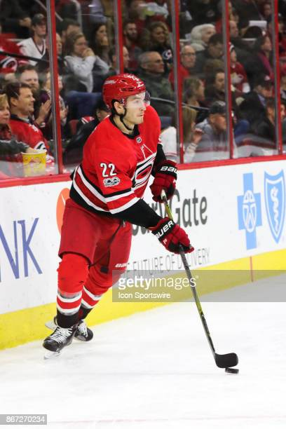 Carolina Hurricanes Defenceman Brett Pesce during the 2nd period of the Carolina Hurricanes game versus the St Louis Blues on October 27 at PNC Arena...