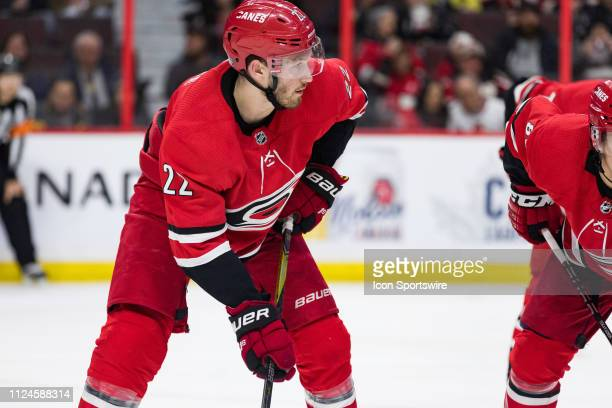Carolina Hurricanes Defenceman Brett Pesce prepares for a faceoff during second period National Hockey League action between the Carolina Hurricanes...