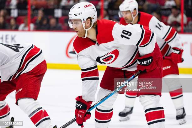 Carolina Hurricanes Defenceman Dougie Hamilton prepares for a faceoff during second period National Hockey League action between the Carolina...