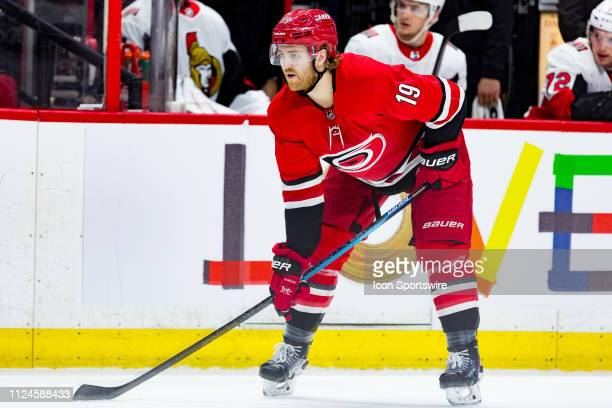 Carolina Hurricanes Defenceman Dougie Hamilton prepares for a faceoff during third period National Hockey League action between the Carolina...