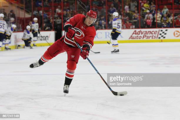Carolina Hurricanes Defenceman Haydn Fleury during warmups period of the Carolina Hurricanes game versus the St Louis Blues on October 27 at PNC...