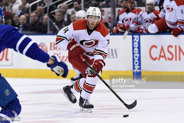 Carolina Hurricanes Defenceman Jaccob Slavin carries the puck during the regular season NHL game between the Carolina Hurricanes and Toronto Maple...