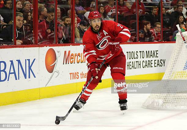 Carolina Hurricanes Defenceman Justin Faulk in action during the 3rd period of the Carolina Hurricanes game verus the Philadelphia Flyers on October...