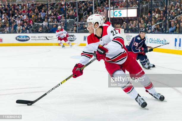Carolina Hurricanes defenseman Brett Pesce looks to pass the puck in a game between the Columbus Blue Jackets and the Carolina Hurricaneson March 15...