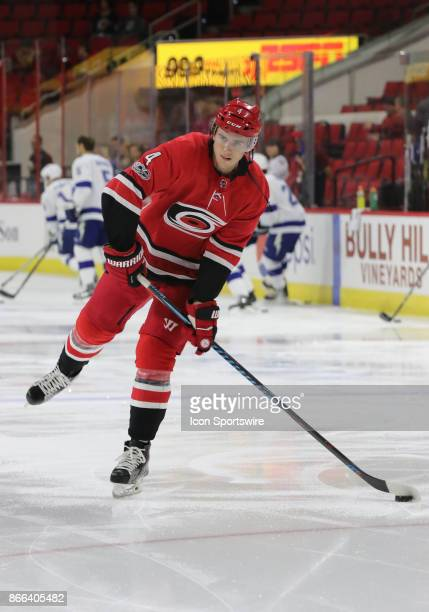 Carolina Hurricanes Defenseman Haydn Fleury during the warmups of the Carolina Hurricanes game versus the Tampa Bay Lightning on October 24 at PNC...
