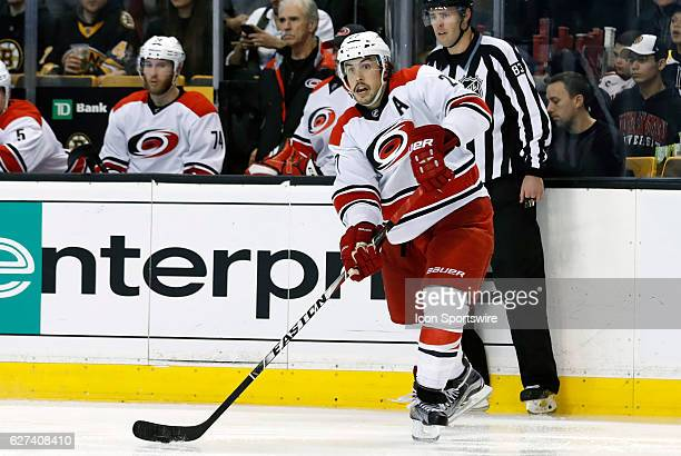 Carolina Hurricanes defenseman Justin Faulk passes during a regular season NHL game between the Boston Bruins and the Carolina Hurricanes on December...